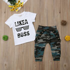 Toddler Infant Baby Boy Outfits T shirt Tops Camouflage Camo Pants Clothes Set