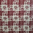 "NCAA College Cotton Fabric by the 1/4 Yard -PICK TEAM- 9""L x 44""W for Face Mask"