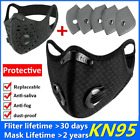 Reusable Washable Vent Valve Face Mask With Filter & Activated Carbon Black/gray
