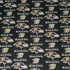 """NFL Baltimore Ravens Cotton Fabric by the 1/4, 1/2, Yard, 58""""W for Face Mask $19.99 USD on eBay"""