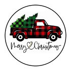 """30 1.5"""" MERRY CHRISTMAS TRUCK ENVELOPE SEALS SHIPPING FAVOR LABELS STICKERS"""