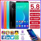 "Mate33 Pro Unlocked Android 9.1 4g Mobile Smart Phone 5.8"" 4+64gb Dual Sim"