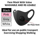 3 For £7 Black Face Mask With Air Flow Vent Breathing Valve Allergy Protection