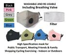 Face Mask With Valve Black + Filter Refill Washable Re-usable Cloth Protection
