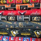 "NHL HOCKEY Cotton Fabric By The 1/4 Yard - "" PICK TEAM "" - 44""W for FACE MASK $9.99 USD on eBay"
