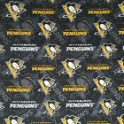 """NHL Pittsburgh Penguins Cotton Fabric by the 1/4,1/2,Yard, 44""""W for Face Mask $9.79 USD on eBay"""