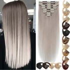 CLEARANCE #GREY 100% Human Hair Extensions Clip In Real Remy Full Head 8PCS Weft