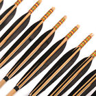 Wood Arrows 6/12pcs Steel Fixed Tips Target Hunting Archery Black Feathers 80cm