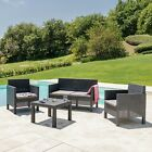 4 Piece Rattan Outdoor Garden Furniture Set - 2 Chairs + Love Seat Sofa + Table