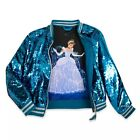 Disney Store Cinderella Reversible Sequin Bomber Jacket for Girls Coat Sparkle