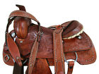 ROPING SADDLE WESTERN HORSE BROWN LEATHER 16 17 FLORAL TOOLED TRAIL TACK SET