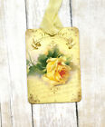 Hang Tags FRENCH SINGLE YELLOW ROSE TAGS or MAGNET 228 Gift Tags