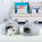Large Cat Bed Cave Small Wool Cozy Pet Igloo Bed Winter House Nest Kennel Grey A