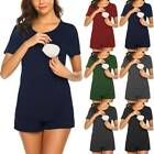 Womens Pregnant Maternity Nursing Nightwear T-Shirt Shorts Pajama Set Sleepwea