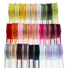 Full Reel 25 Metre Satin Edge Organza Ribbon 10 15 25 40mm Various Colours