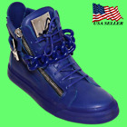 Giuseppe Zanotti Men's High Top Leather Laced-Up London Sneakers Blue RDM444