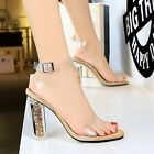 Womens Sexy Sandals Crystal Heels Clear Shoes One-Striped Open-Toed Heel Shoes