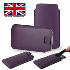 Purple Leather Slim Pull Tab Phone Cover Pocket Pouch - Energizer Hardcase H570S