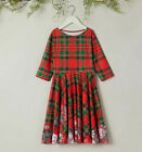 Girl's Red  Green Winter Plaid Snowflakes Festive Party Swing Dress NWT 7/8