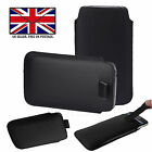 Black Leather Slim Pull Tab Phone Cover Sleeve Pouch Energizer Ultimate U650S