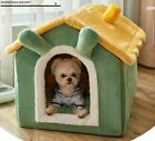 Pet Dog Cat House Beds Kennel Indoor Raised Tent Cushion Mat Chimney House Warm