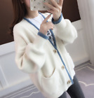 Womens Fur Cashmere Knitted Sweater Cardigan Loose Thick Winter Warm Coat Hot