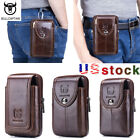 BULLCAPTAIN Men Cow Leather Phone BELT WAIST Bag Military Fanny Pack Purse Pouch