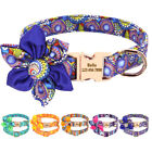 Personalized Dog Collar With Big Flower Engraved ID Nameplate Custom Adjustable