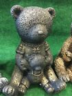 Concrete Teddy Bear Ornament Hand Cast Painted Variations Frost Protected Gift