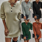Women Winter V Neck Long Sleeve Sweater Dress Button Knitted Tunic Top Pullover