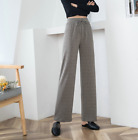 Womens Wool Blend High Waist Wide-legs Pants Cashmere Knitted Trousers Hot Sale