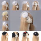 Lady Handmade Rose Crystal Fascinators Hat Hair Clips Wedding Party Accessories