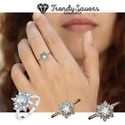 Snowflake Ring Cubic Zirconia CZ Stone Flower Ring Jewelry Gifts Women Silver