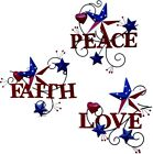 Metal Heart & Americana Stars with Faith July 4th Patriotic Indoor Outdoor Decor