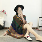 Lady Capes Knitted Poncho Sweater Loose Tassel Turtleneck Shawls Blanket Fashion