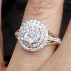 Deal! 1.00CTW Genuine Cluster Diamond Engagement Bridal Halo Ring 10K Gold