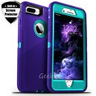 For iPhone 6 6s 7 8 Plus Shockproof Rugged Hard Case Cover + Screen Protector