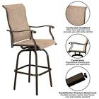 3 Pcs Patio Bar High Swivel Stools Set,2 Tall Chairs and 1 Height Outdoor Brown