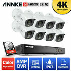 ANNKE 8MP 8CH DVR 4K Full Color Night Vision Outdoor Security Camera System IP67