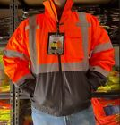 ORANGE - Class 3 Reflective Safety Bomber Jacket with Quilted Liner