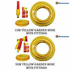 15M 30M ANTI KINK REINFORCED YELLOW GARDEN HOSE WATER PIPE OUTDOOR HOSEPIPE