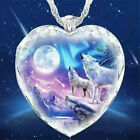 925 Silver Women Animal Wolf Heart Necklace Natural Crystal Pendant Jewelry Gift