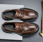 Retro Mens Real Leather Oxfords Work Business Casual Shoes Lace up Round Toe Hot