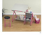 Drafting Table and Stool Set 2-Piece Wood Top Pink Durable Fram