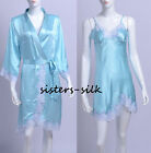 2 PCS WOMENS LADIES 100% Silk Robe Chemise Set SLEEPWE SIZE S ~ M US SIZE 4 ~ 10