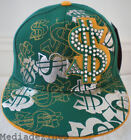 NEW BLING HIP HOP GREEN DOLLAR FITTED BASEBALL HAT CAPS