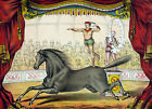 3356 Vintage Poster.Powerful Graphic Design.Acrobatic Circus Show.Horse. Decor