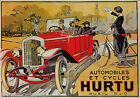AUTOMOBILE CYCLES HURTU CAR BICYCLE FRENCH ROAD VINTAGE POSTER REPRO