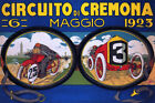 1923 ITALY CAR MOTORCYCLE RACE CIRCUITO CREMONA GRAND PRIX VINTAGE POSTER REPRO