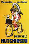 PNEU VELO HUTCHINSON DOG BICYCLE TIRE STRONGER THAN STEEL VINTAGE POSTER REPRO